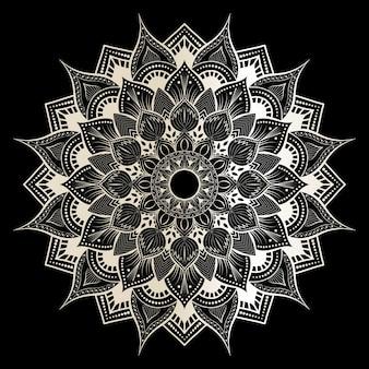 Мандала на черно-белом премиум вектор 2
