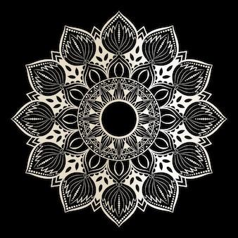 Мандала на черно-белом премиум вектор