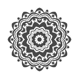 塗り絵の白い背景の曼荼羅