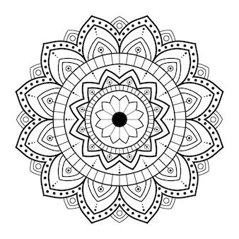 ページを着色するための白い背景の曼荼羅