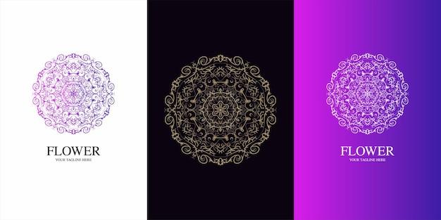 マンダラまたは飾りのロゴテンプレートデザイン。