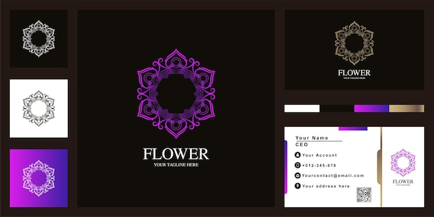 명함이 있는 만다라 또는 장식용 고급 로고 템플릿 디자인.