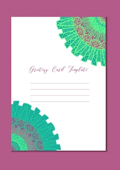 Mandala oriental greeting card with copyspace