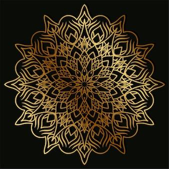 Mandala ornament or flower background design golden color.