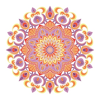 Mandala ornament, hand drawn floral background.