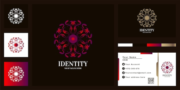 Mandala or ornament luxury logo template design with business card.