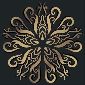 만다라 장식 또는 꽃 배경 디자인 황금 색상.