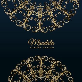 Мандала декоративный роскошный золотой фон