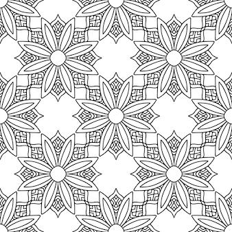 マンダラ装飾パターン。黒と白のデザイン。