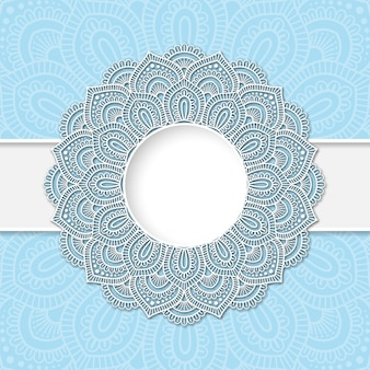 Mandala paper frame with beige background.