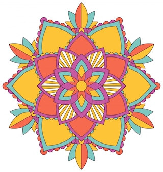 Mandala pattern design in many colors