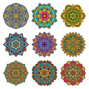 Mandala pattern flower set.