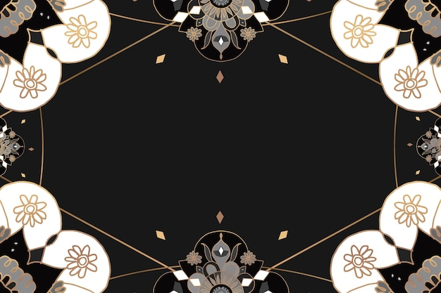マンダラパターンゴールドフレームブラックフローラルインディアンスタイル