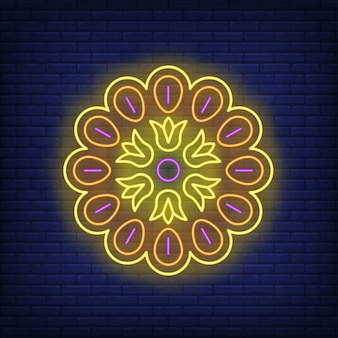 Mandala pattern neon sign