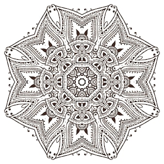 伝統的なアジアの装飾品に基づいたヘナの花の要素の曼荼羅パターン。ペイズリー一時的な刺青