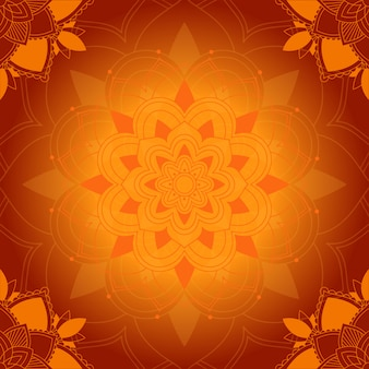 オレンジ色の背景にマンダラパターン