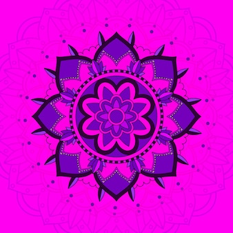 분홍색 배경에 만다라 패턴