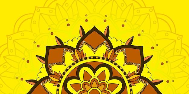 노란색 배경에 만다라 패턴