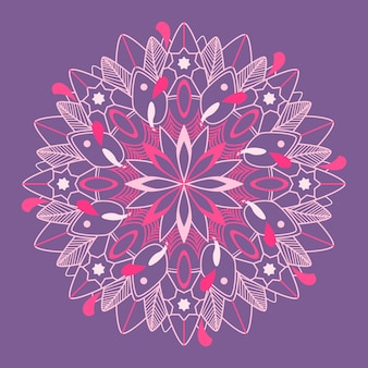 Mandala pattern on purple background