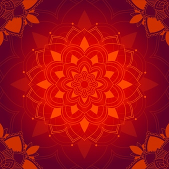 Mandala pattern on red background