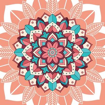 Mandala patterns on brown background