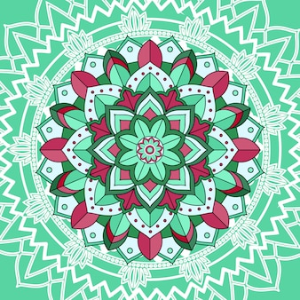 Mandala patterns on green background