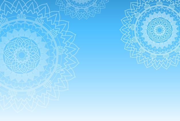 파란색 배경에 만다라 패턴