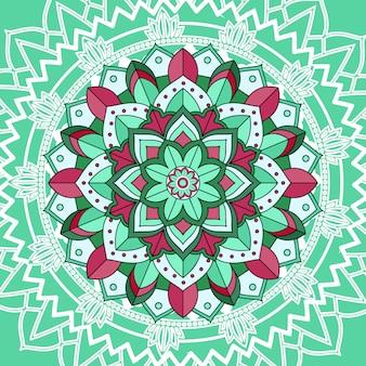 Мандала узоры на зеленом фоне