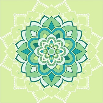 緑の背景にマンダラパターン