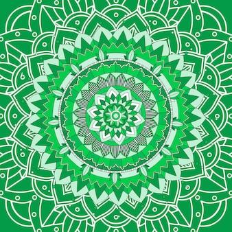 緑の背景に曼荼羅パターン