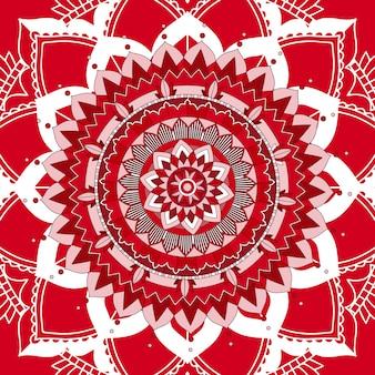 赤い背景のマンダラパターン
