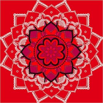 赤い背景の曼荼羅パターン