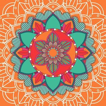Modelli di mandala su sfondo arancione