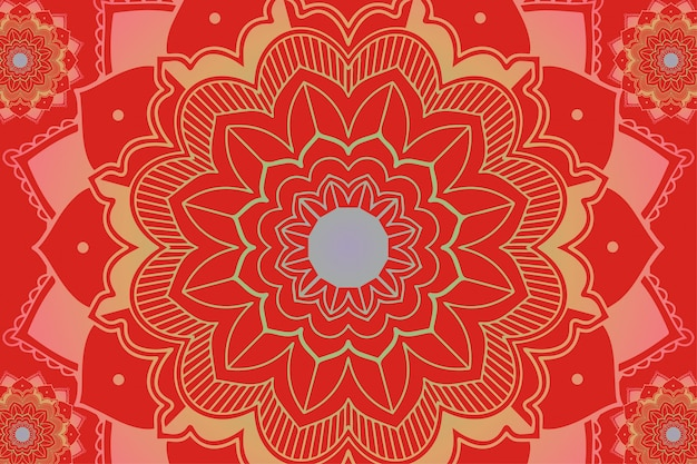 Mandala patterns on red background