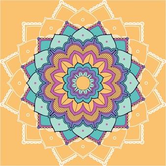 Mandala patterns on yellow background