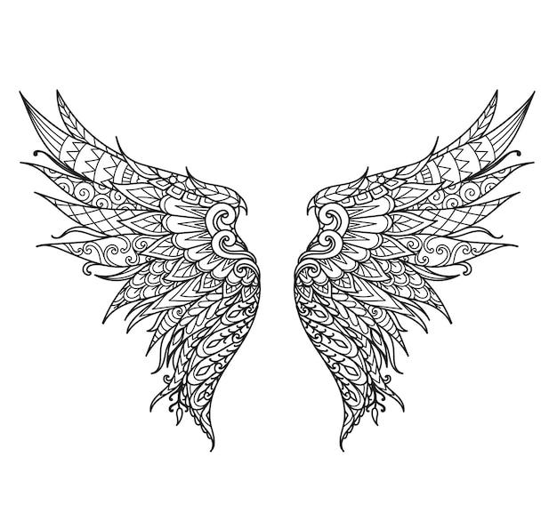 만다라 피닉스 새 날개, 제품 인쇄, 레이저 절단, 종이 절단, 색칠하기 책 등. 벡터 일러스트 레이 션.