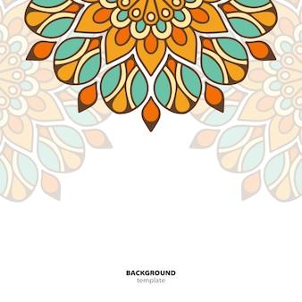 マンダラ。丸い飾りパターン。民族的な東洋の背景