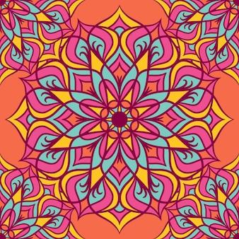 Mandala round ornament seamless pattern, ethnic floral pattern, vintage decorative elements