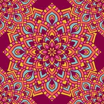 만다라 라운드 장식 원활한 패턴, 민족 꽃 패턴, 빈티지 장식 요소