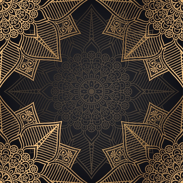 Mandala seamless pattern background design in black and golden color