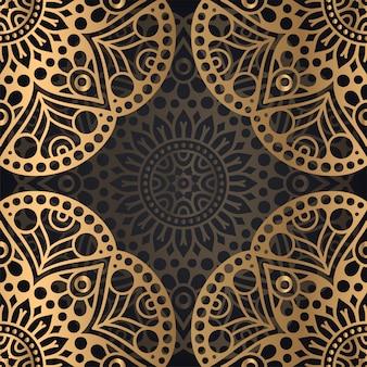 Mandala seamless pattern background design in black and golden color
