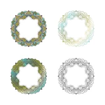 Mandala set color design for tittle or opening