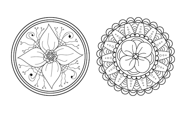 マンダラセット対称の丸い飾り抽象的な落書きの背景ぬりえページベクトルイラスト