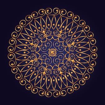 Форма мандалы с роскошным стилем и золотым цветом