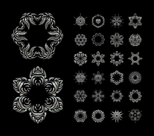 Mandala silver round ornaments pattern