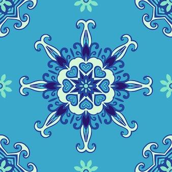 Снежинка мандала с сердечками синяя