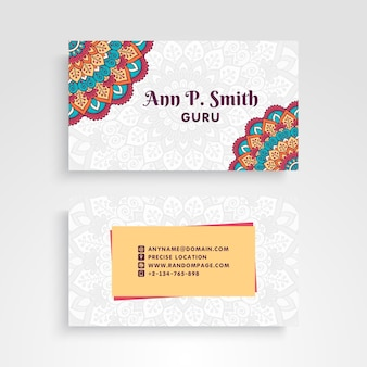 Mandala style business card for guru