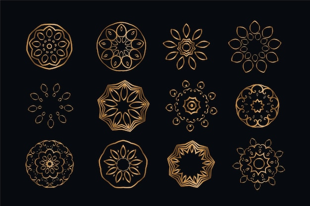 Mandala style decoration elements set of twelve