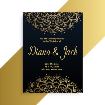 Mandala style decorative wedding card indian style design