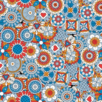 Mandala style flowers blue decorative pattern